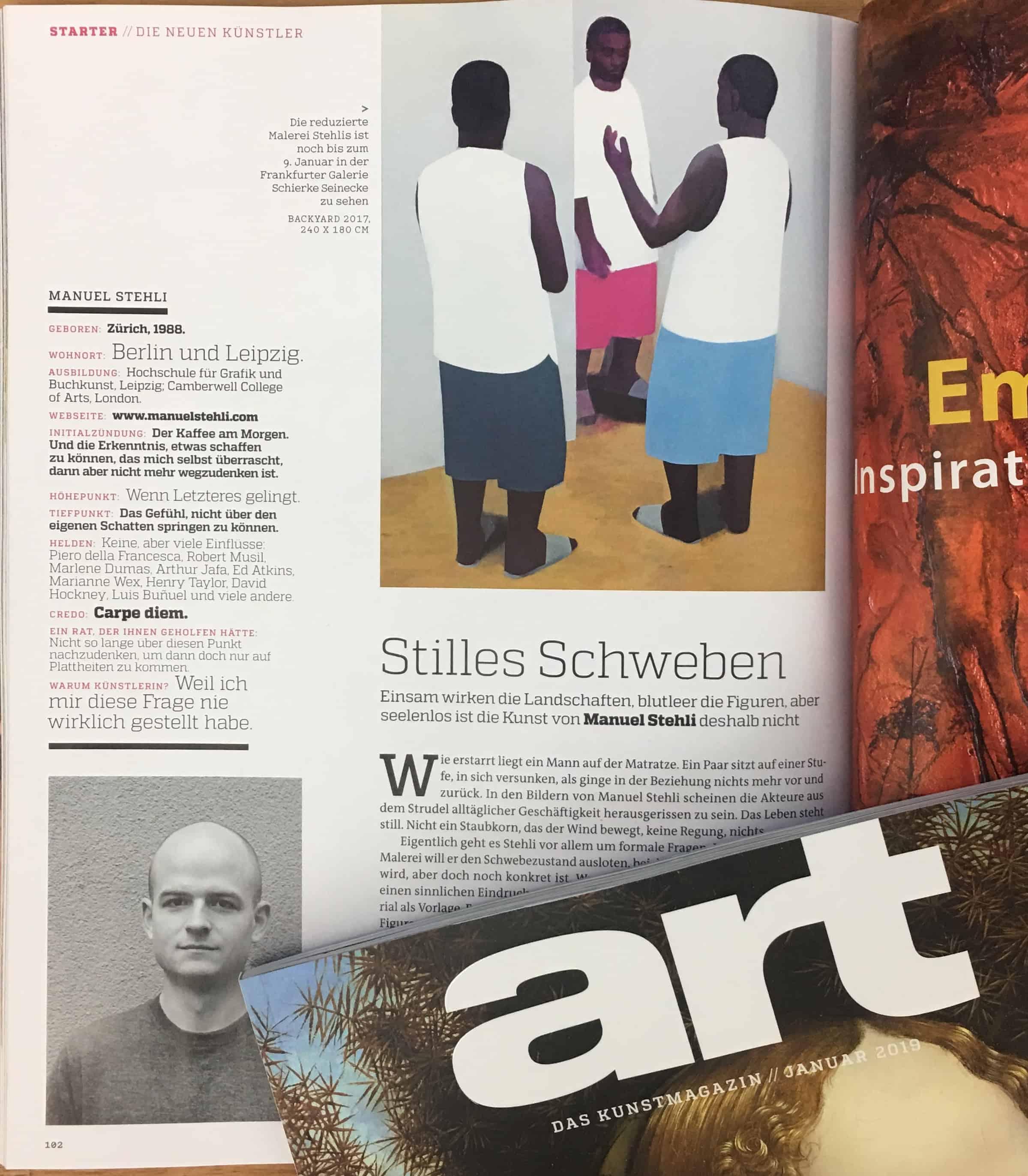Manuel Stehli – art / Das Kunstmagazin   Schierke Seinecke